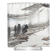 Ink And Wash Pine Shower Curtain