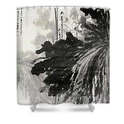 Ink Lotus Shower Curtain