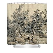 Ink Painting Landscape Bamboo Forest Rivers Shower Curtain