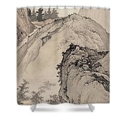 Ink Painting Landscape House Shower Curtain