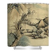 Ink Painting Landscape River Shower Curtain