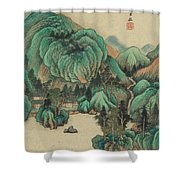 Ink Painting Mountain Thatched Cottage Shower Curtain