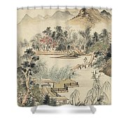 Ink Painting Mountain Wooden Bridge Shower Curtain