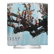 Ink Painting Plum Blossom Blue Shower Curtain