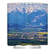 Inn River Valley And Kaiser Mountains View Shower Curtain