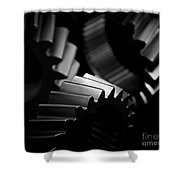 Inner Workings Black And White Shower Curtain