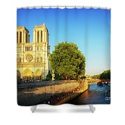 Notre Dame In Sunset Light Shower Curtain