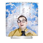 Insane Business Man With Busy Travel Schedule Shower Curtain
