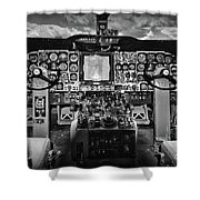 Inside The Cockpit Black And White Shower Curtain