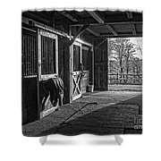 Inside The Horse Barn Black And White Shower Curtain
