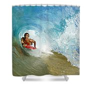 Inside Wave Tube Shower Curtain