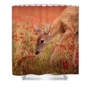 Inspecting The Poppies Shower Curtain