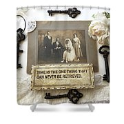 Inspirational Art - Vintage Wedding Photo With Antique Keys - Inspirational Vintage Black Keys Art  Shower Curtain