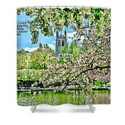 Inspirational - Cherry Blossoms Shower Curtain