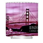 Inspirational - Nightfall At The Golden Gate Shower Curtain