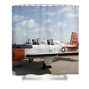 Instructor Pilot And Student In A T-34 Shower Curtain