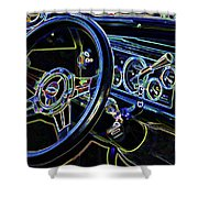 Interior Of A Classic Vintage Car Shower Curtain