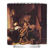 Interior With A Young Violinist 1637 Shower Curtain