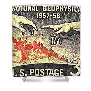 International Geophysical Year Stamp Shower Curtain
