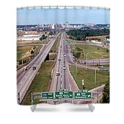 Interstate 74 West At Exit 95b, Route 116 East Exit, 1975  Shower Curtain