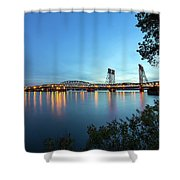Interstate Bridge Over Columbia River At Dusk Shower Curtain