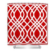 Intertwine Latticework With Border In Red Shower Curtain