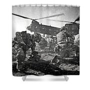Into Battle - Charcoal Shower Curtain