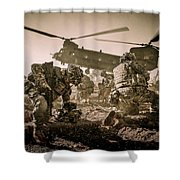 Into Battle-sepia Shower Curtain