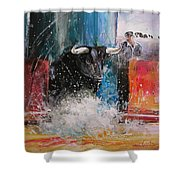 Into The Arena Shower Curtain by Miki De Goodaboom