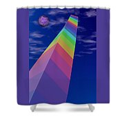 Into The Future - Rainbow Monolith And Planet Shower Curtain