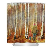 Into The Misty Autmun Woods Shower Curtain