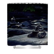 Inuksuk Stone Figures And River Shower Curtain