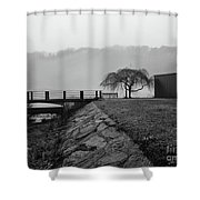Inwood Hill Park In Fog Shower Curtain