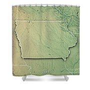 Iowa State Usa 3d Render Topographic Map Border Art Print By Frank