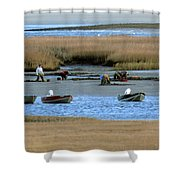 Ipswich River Clammers 2 Shower Curtain