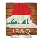 Iraq Rustic Map On Wood Shower Curtain