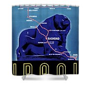 Iraq Vintage Travel Poster Restored Shower Curtain