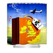 Ireland Vintage Travel Poster Restored Shower Curtain