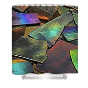 Iridescence Angles, Curves Greens Blues Browns Rusts Yellows Geometric 2 8312017  Shower Curtain
