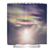Iridescent Clouds Near The Sun Shower Curtain