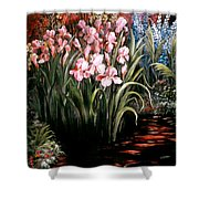 Iris By The Pond Shower Curtain
