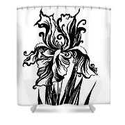 Iris Flower And Butterfly Shower Curtain