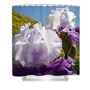 Iris Flowers Purple White Irises Poppy Hillside Landscape Art Prints Baslee Troutman Shower Curtain