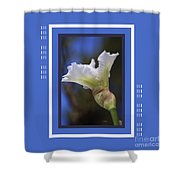 Iris White With Design Shower Curtain