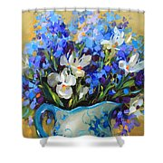 Irises And Blue Glass Shower Curtain
