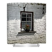 Irish Kettle Of Geraniums County Cork Ireland Shower Curtain by Teresa Mucha