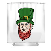 Irish Leprechaun Wearing Top Hat Drawing Shower Curtain