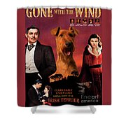 Irish Terrier Art Canvas Print - Gone To The Wind Movie Poster Shower Curtain