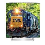 Iron Age Engineers Csx Locomotive Art Shower Curtain