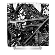 Iron Bridge Close Up In Black And White Shower Curtain